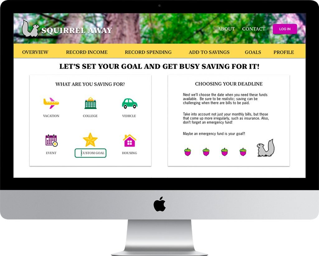 imac screen showing goal setting page